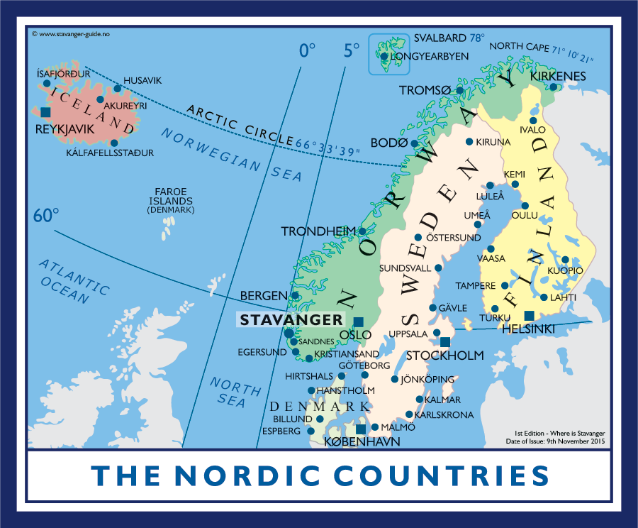 Where is Stavanger in relation to The Nordic Countries?